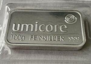 100g Umicore .999 Fine Silver Bullion Bar Investment FREE Bullion Gift & P&P