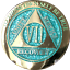 7 Year AA Medallion Elegant Glitter Aqua Gold Plated Sobriety Chip Coin VII