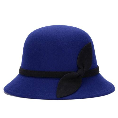Fashion Womens Wool Church Cloche Flapper Hat Lady Bucket Winter Flower Cap