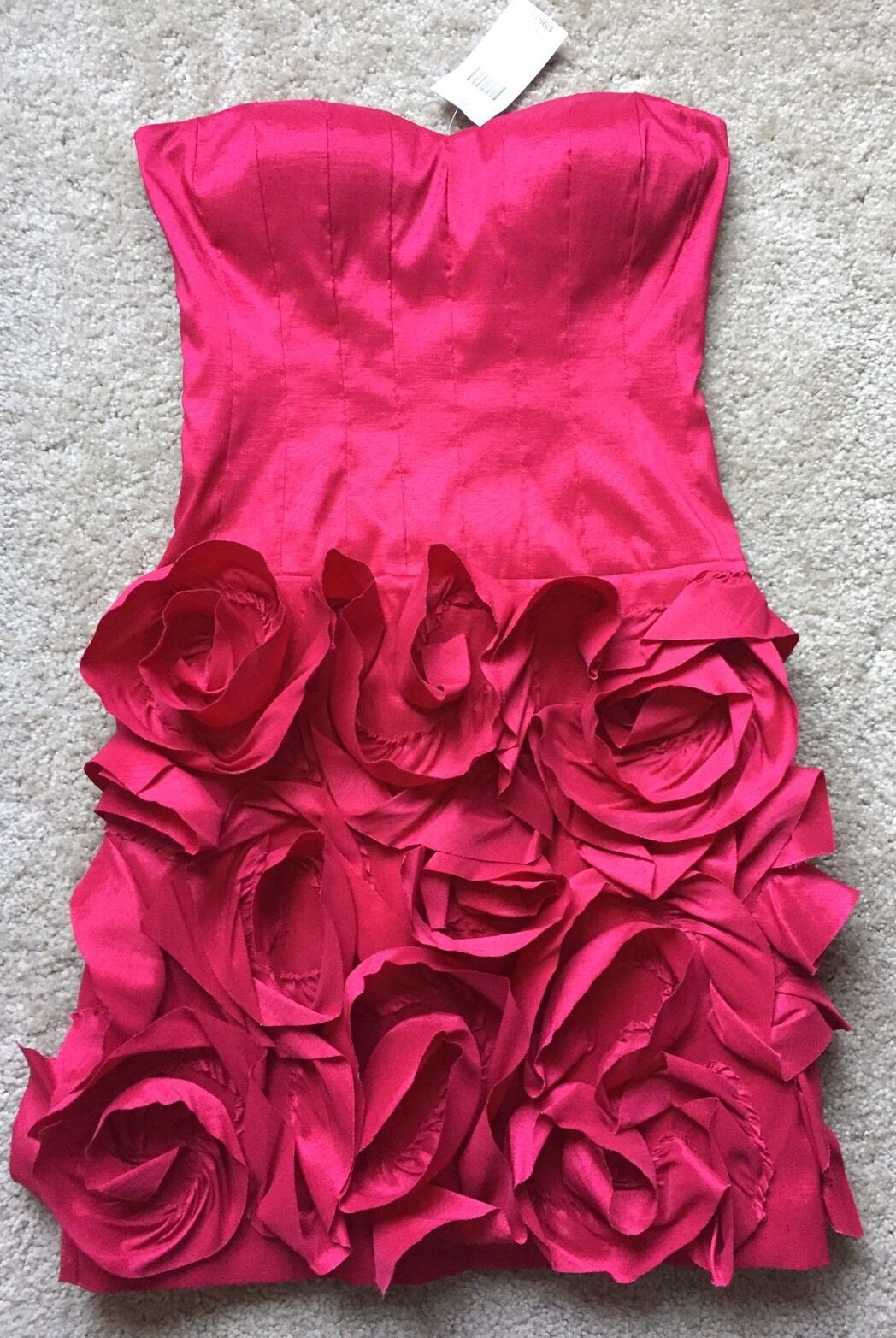 NWT  Max And Cleo Women's Cherry Red Floral Strapless Dress Size 2