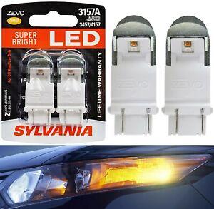 Sylvania ZEVO LED Light 3157 Amber Orange Two Bulbs Front Turn Signal Upgrade OE