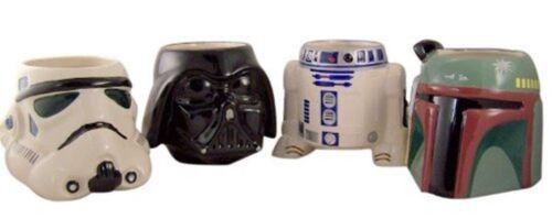 SET of 4 Star Wars Cups Stormtropper Darth Vader R2 D2 Boba Fett 15oz Drink Mug