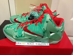 7b0f667cf1dd 2014 NIKE Lebron XI 11 CHRISTMAS XMAS Green Red XMAS MEN SIZE  10-14 ...