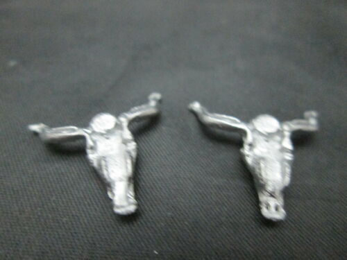 2 Dollhouse Miniature Unfinished Metal Cow Skull #2