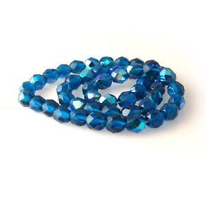 25 8mm Round Faceted Czech Glass Fire Polish Beads Cobalt Blue Azuro