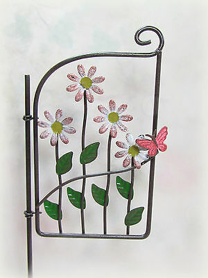 Dollhouse Miniature or Fairy Garden Metal Gate Pick with Daisies & Butterfly