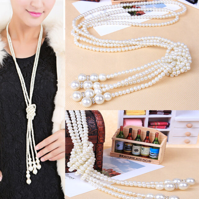 New Arrived Fashion White Artificial Pearls Long Chain Charm Necklace Valentine
