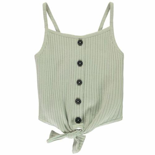 Firetrap Kids Girls Cropped Button Vest Junior Crop Tank Top Lightweight Thin