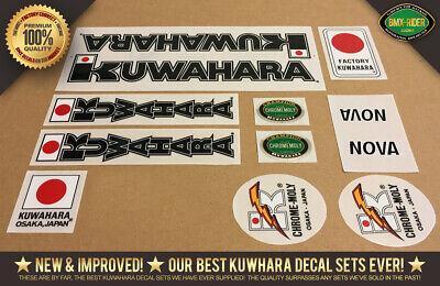 "Kuwahara Chrome-Moly /""BLACK Version/"" BMX Handlebar Seat Post Decal 1982-1983"