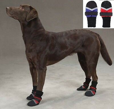 Used Red XXL Fleece Lined Dog Boots Water Repellent Protective Booties Shoes