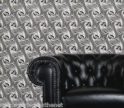 Black & White, Retro Swirl Design, Paste the Wall, Blown Vinyl Wallpaper