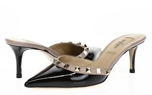 VALENTINO-GARAVANI-Womens-Black-Blush-Pink-Patent-Leather-Heels-Sz-36-5