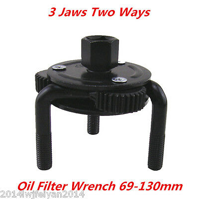 Universal Auto 3 Jaws Two Ways 69-130mm Oil Filter Wrench Spanner Remover Tool