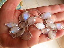 Superbe collier long sautoir en argent 925 avec pierres de lune poinçon