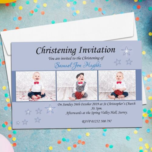 10 Personalised Boys Christening Baptism Invitations PHOTO Invites N10