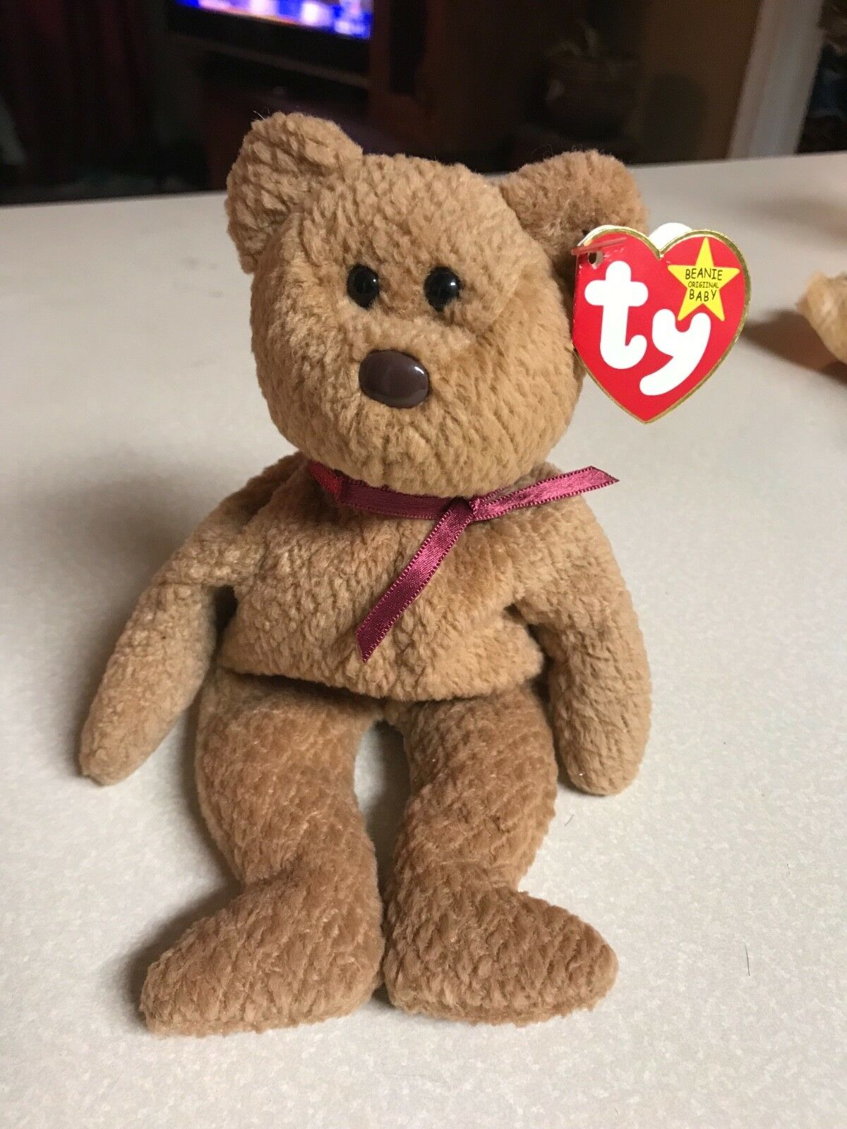 Ty beanie babies bear curly ( With Very Rare Unusual Errors On Tag )