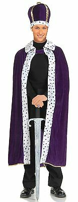 Mens King Robe & Crown Costume Dalmatian Spots Kings Royalty Adult Size NEW