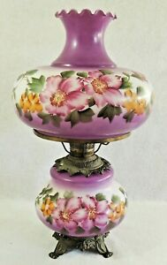 Antique-Vtg-3-Way-Hand-Painted-PURPLE-Flower-Gone-With-The-Wind-GWTW-Table-Lamp
