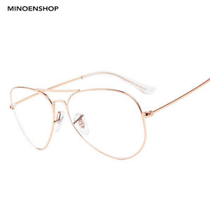 0a0d9956adc7 Rose Gold Clear Lens Metal Tear Drop Pilot Glasses Fashion Frame Men ...