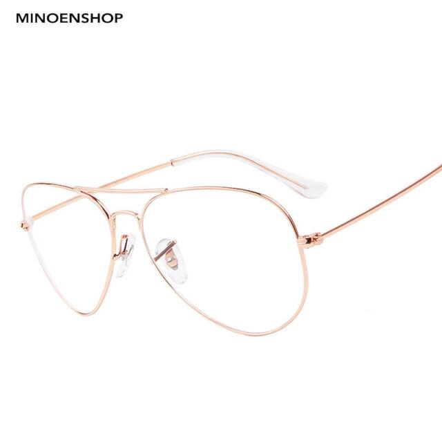 be57cc088 Rose Gold Clear Lens Metal Tear Drop Pilot Glasses Fashion Frame Men Ladies