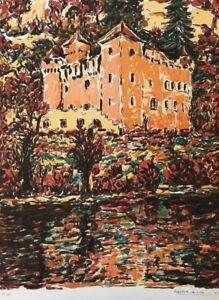 HonnêTeté Marcel Azema-billa (1904-1999) Lithographie 1970 Anjou Chateau Loire Angers
