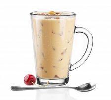 6  Kaffeegläser Teegläser Gläser 300 ml mit Henkel und 6 Edelstahl-Löffel GRATIS