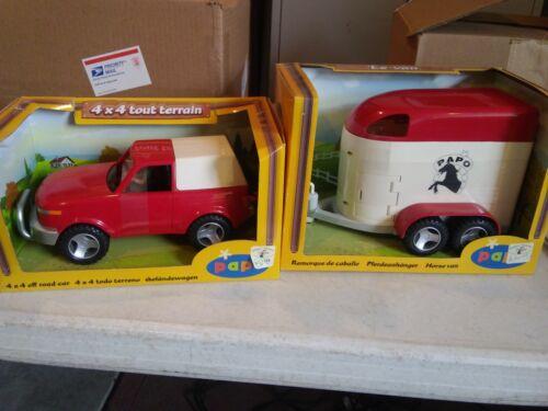 Papo 4x4 Gelandewagen /& Horse Trailer NRFB New Kids Play Interactive Toy
