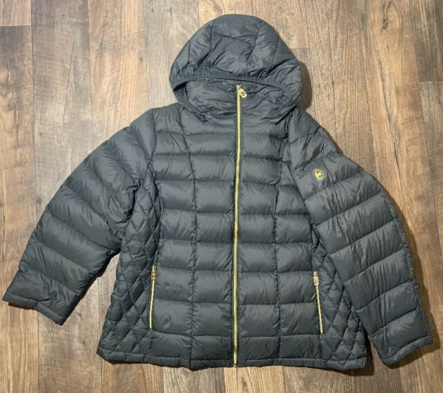new MICHAEL Kors Plus Size 3X Quilted Packable Down Puffer Coat Gray Green $350