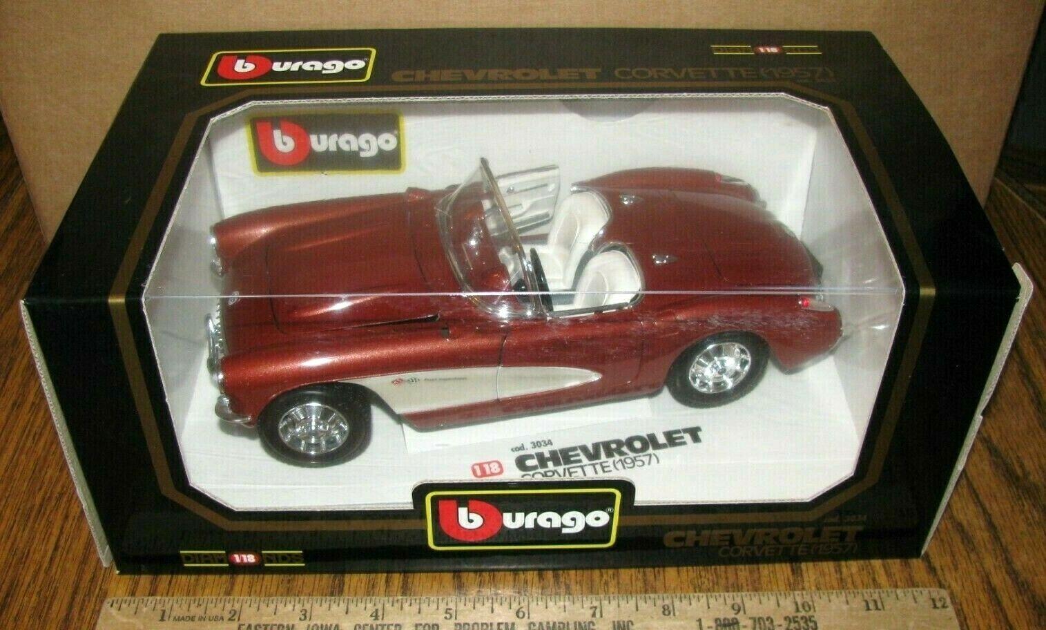 la calidad primero los consumidores primero Chevrolet 1957 Chevy Corvette Coche Auto 1 18 18 18 Burago diamantes 3034 Italia DIE CAST  deportes calientes
