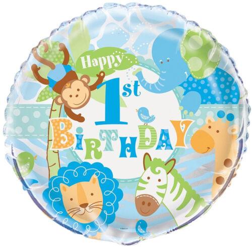 1 Of 4FREE Shipping 7 Pc Blue Safari Happy 1st Birthday Balloon Bouquet Party Decoration Monkey Boy