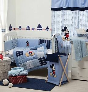 Image Is Loading Blue Mickey Mouse Baby Bedding Collection 4 Pc