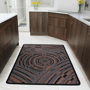 Small Large Terracotta Modern Rug Non Slip Rubber Back
