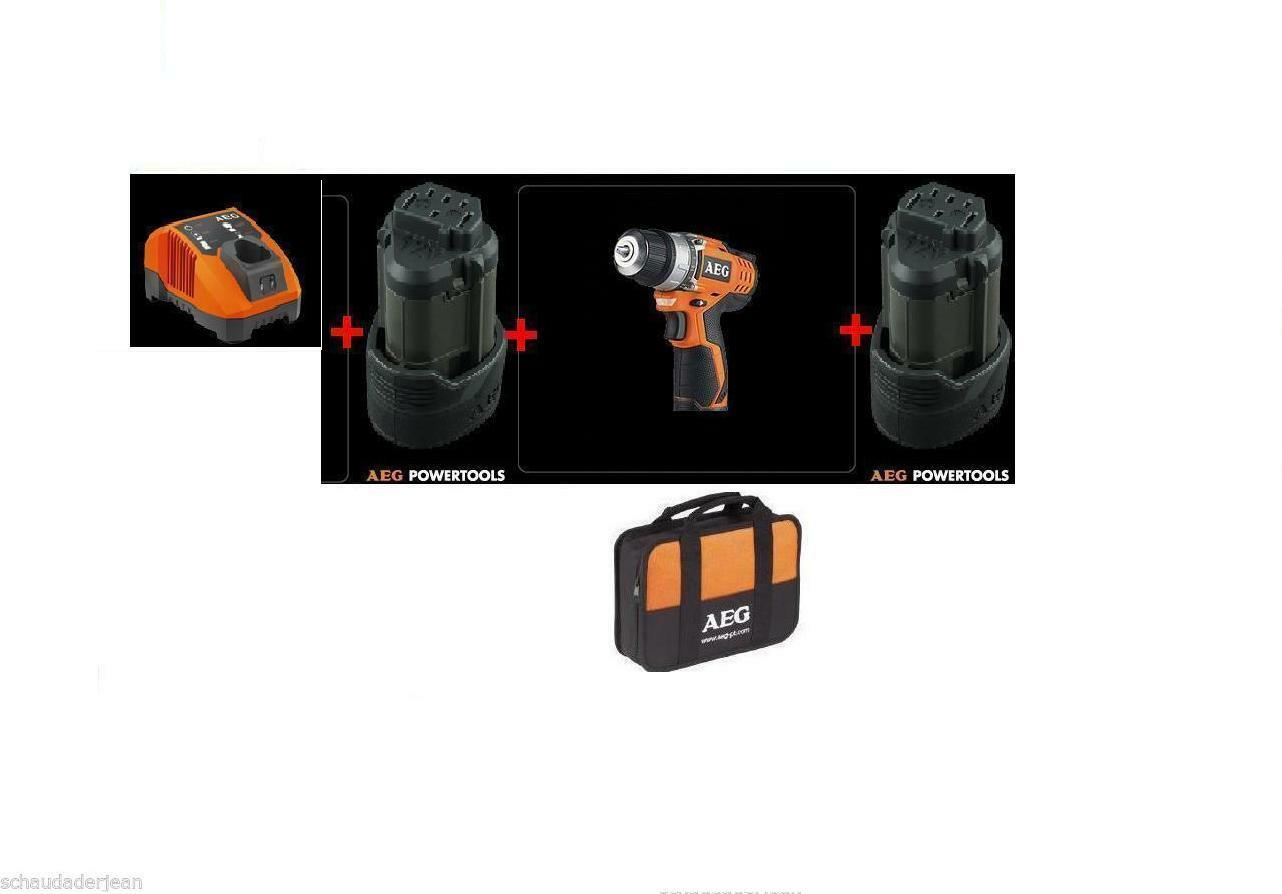 AEG BS 12 C Akku-Bohrschrauber  mit 2x1,5Ah Akku + Ladegerät+Tasche