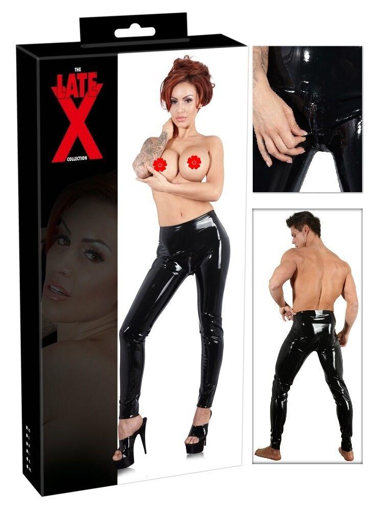 Leggings in lattice black con zip LateX Sexy shop toy abbigliamento fetish party