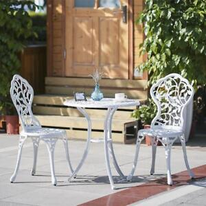 ikayaa 3pcs balkon bistro set aluminium tisch st hle set blatt muster wei l7r2 603983394212 ebay. Black Bedroom Furniture Sets. Home Design Ideas