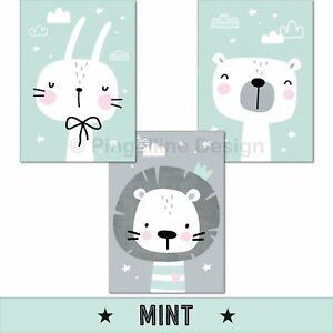 Kinderzimmer-Poster-Maedchen-Deko-Kinderbilder-Baby-Junge-Tiere-Wandbilder-Bilder