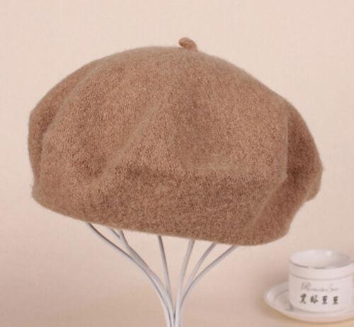 New Women Solid Warm Wool Winter Beret French Artist Beanie Hat Ski Cap hi