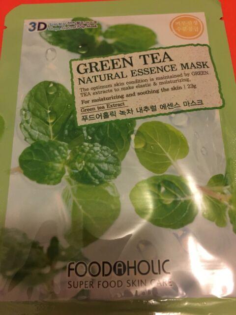 3D FoodAHolic Superfood Fresh Green Tea Natural Essence Mask face mask anti agei