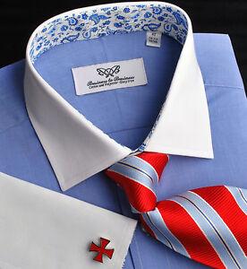 Blue-Wrinkle-Free-Poplin-Formal-Business-Dress-Shirt-White-Contrast-Cuff-Collar
