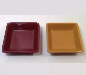 2-Pampered-Chef-Simple-Additions-Small-Dish-Plate-Bowl-Square-Cranberry-Red-Gold