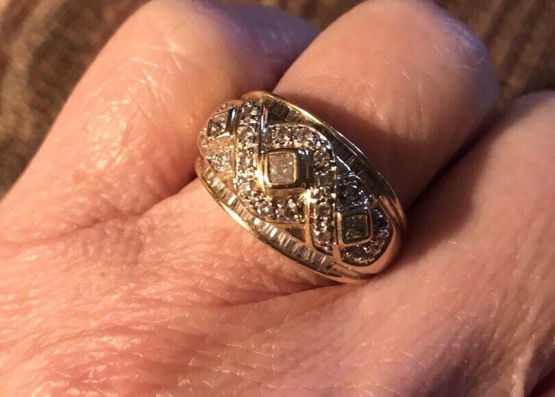 14KT gold 1.5 Ct Diamond Dome Ring Sz 7