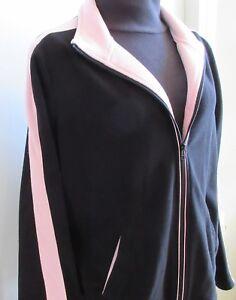 Women-039-s-XL-Black-Pink-Zipper-Fleece-Lightweight-Jacket-Lg-Slv-Pockets-Cheetah