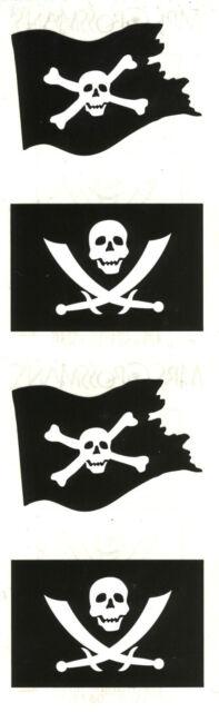 Mrs. Grossman's Stickers - Jolly Roger - Pirate Skull & Bones Flag - 4 Strips
