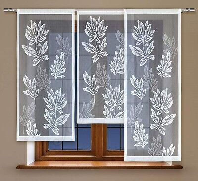 3 Parts Jacquard window net curtain panel ready to hang up WHITE