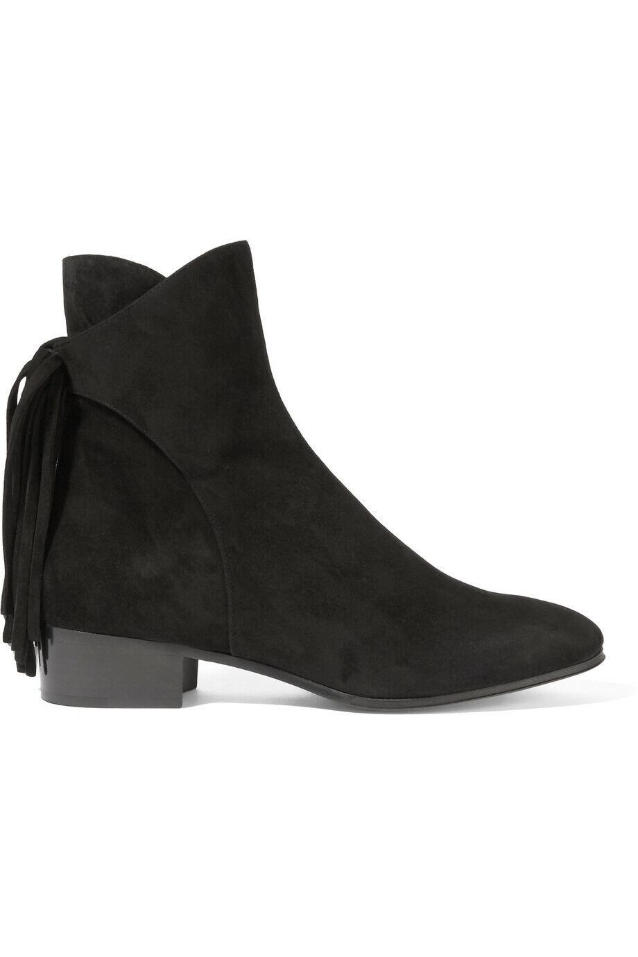 Chloe Ankle Stiefel Stiefeletten 37,5 Schwarz Leder Fransen Made in  Neu
