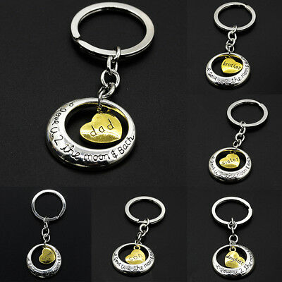 Charm Family Mom Daughter Dad Love Heart Pendant Key Ring Chain Keyring Gifts