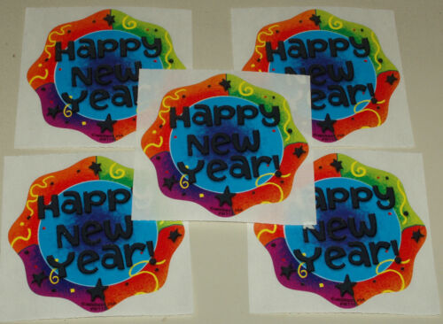 """15 RARE HAPPY NEW YEAR Holiday 2.5"""" x 2.5/"""" Party Favor Stickers"""