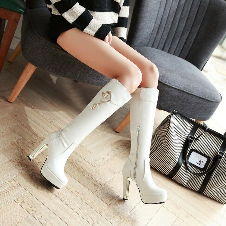 Womens Platforms Long Warm Knee High Boots Leather Warm Block Heels Ladies shoes