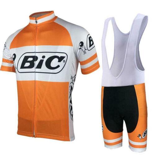 VINTAGE 1973 Maglia da ciclismo BIC Team e pantaloncini bavaglino set retrò