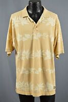 Tommy Bahama men's top size L yellow tropical floral stripes polo casual cotton